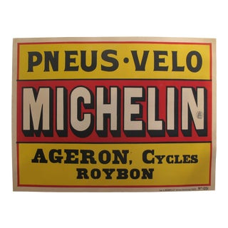 1920s Original Horizontal Art Deco Advertisment Poster - Michelin - Pneus & Velo For Sale