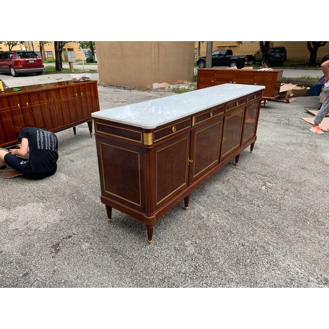 Gold 1910s French Louis XVI Antique Mahogany Sideboard For Sale - Image 8 of 13