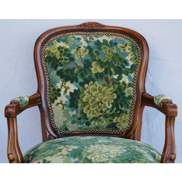 Belgian Scalamandre Marly Velvet Tapestry Fabric Walnut Armchair For Sale - Image 3 of 11