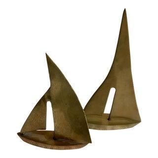 Vintage Brass Sailboats - Set of 2 For Sale