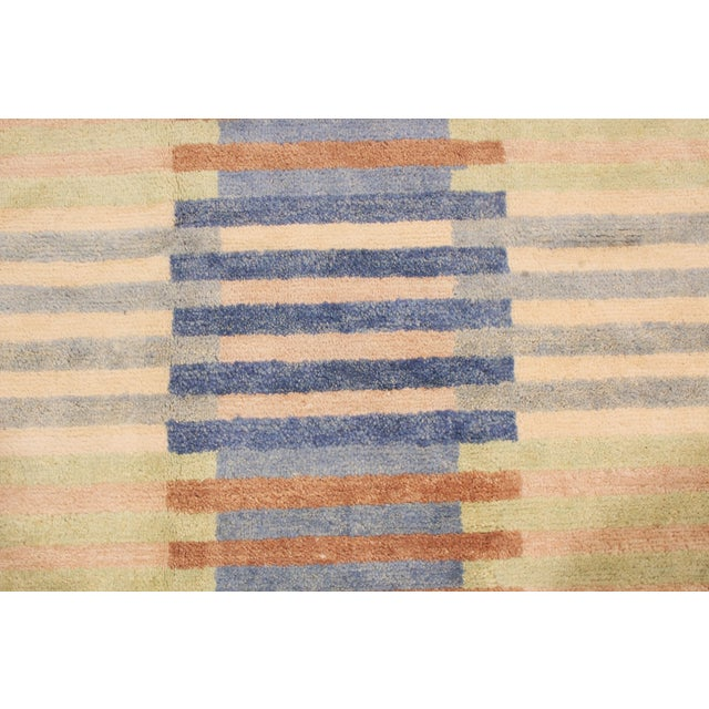 2010s Hand Knotted Scandinavian Design Inspired Geometric Blue and Pink Wool Rug - 8′1″ × 9′11″ For Sale - Image 5 of 6