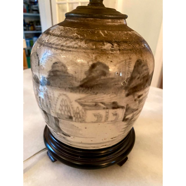 Glazed Chinese Sage Green Ginger Jar Table Lamp With Shade For Sale - Image 10 of 13