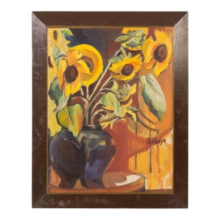 Early 20th Century Oil Painting of Sunflowers on Canvas For Sale