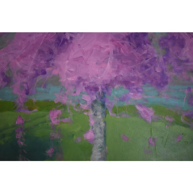 Canvas Weeping Cherry Tree Painting by Stephen Remick For Sale - Image 7 of 11