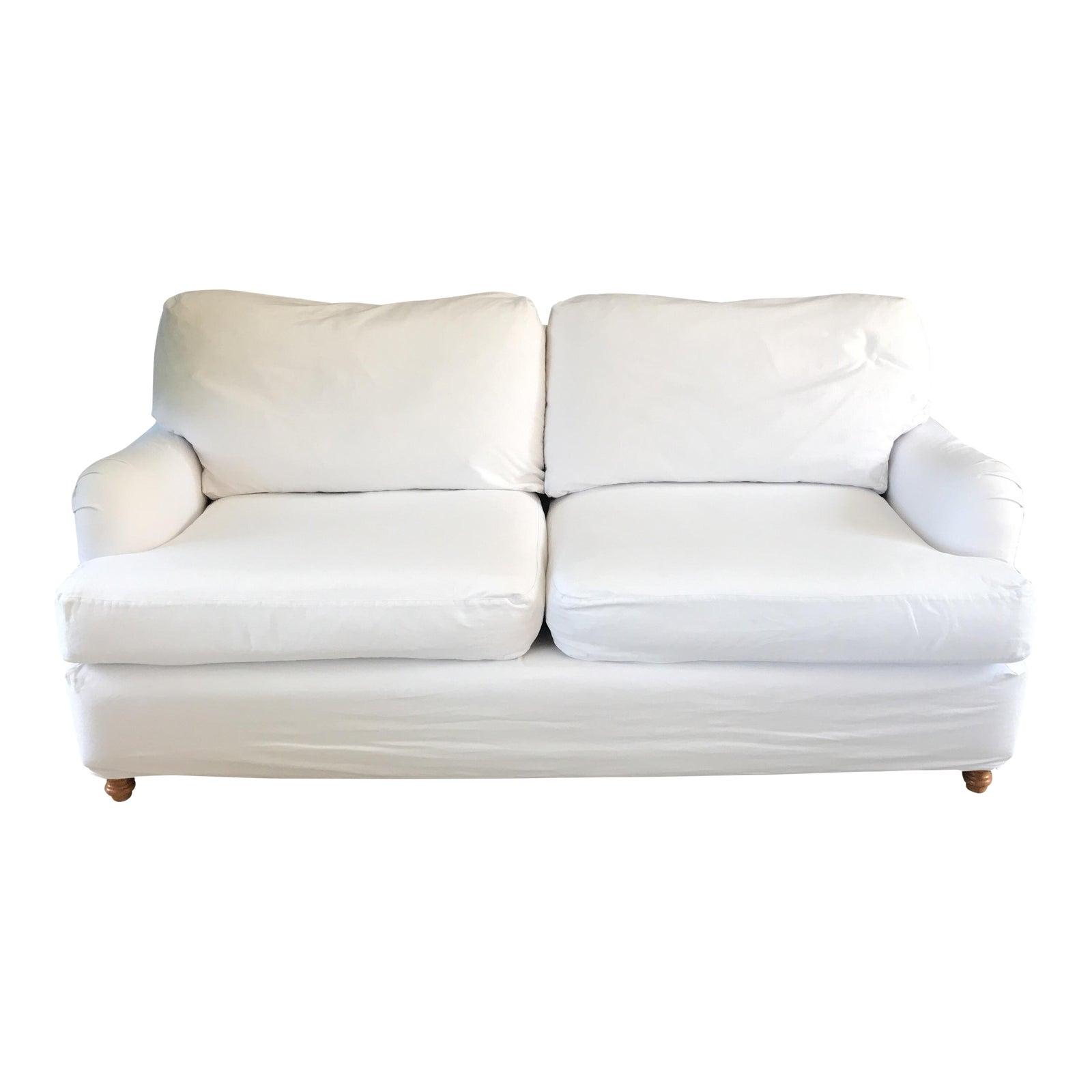 Transitional White Quatrine Milan Sofa Chairish