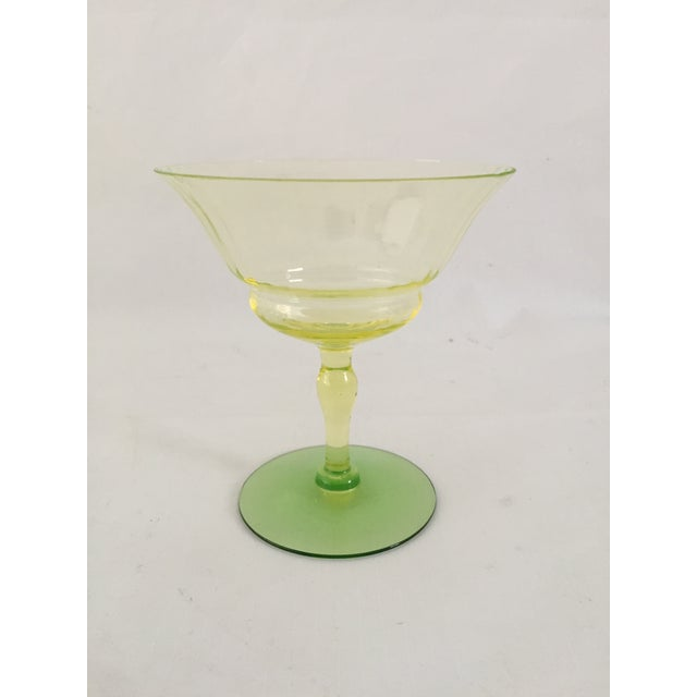 Green Vaseline Champagne Glasses - Set of 11 For Sale - Image 4 of 6