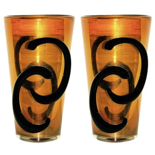 Giulio Ferro Italian Modern Iridescent Gold and Black Murano Glass Vases - a Pair For Sale