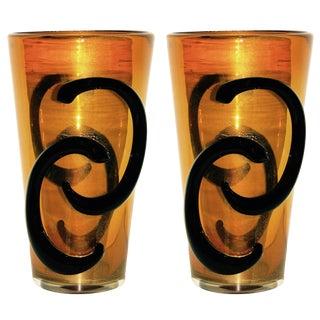 Giulio Ferro Italian Modern Iridescent Gold and Black Murano Glass Vases - a Pair For Sale