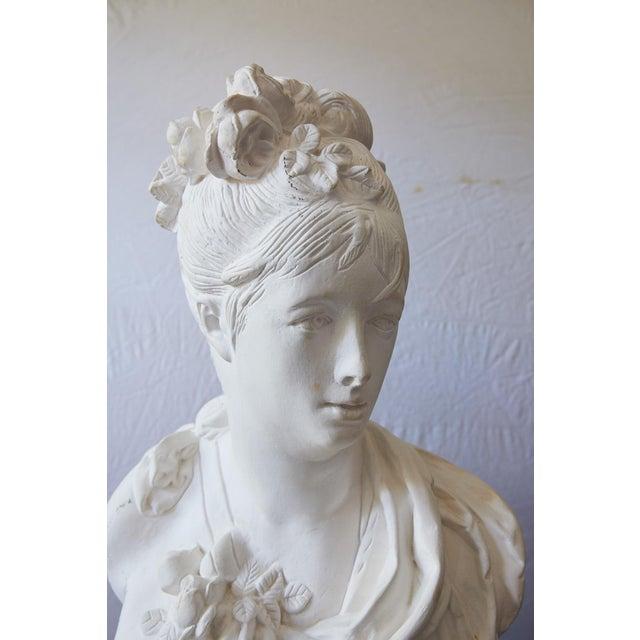 Antique White Elegant Hollywood Regency Large Plaster Bust For Sale - Image 8 of 13
