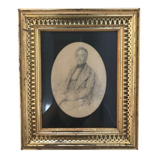 Framed 19th Century Graphite Portrait of Seated Gentleman For Sale