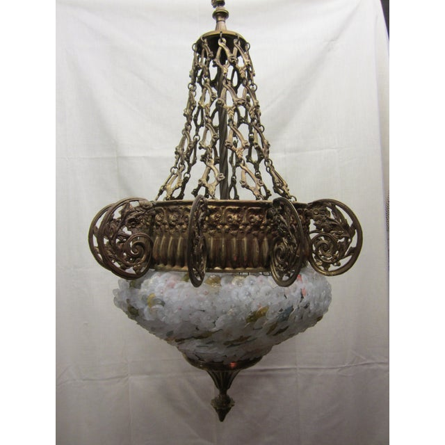 Early 20th Century Art Nouveau Italian Glass and Bronze Floral Chandelier For Sale - Image 11 of 11