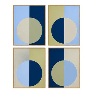 Blue & Olive Forever Set of 4 by Stephanie Henderson in Gold Frame, Small Art Print For Sale
