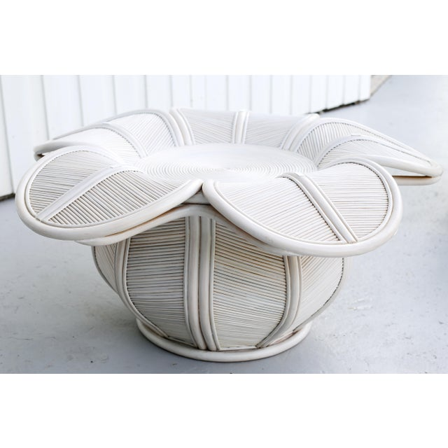 Wood 1970s Mid Century Modern Gabriella Crespi / Franco Albini Style Rattan Bell Flower Coffee Table For Sale - Image 7 of 11