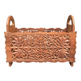 Handcarved Wood Magazine Rack