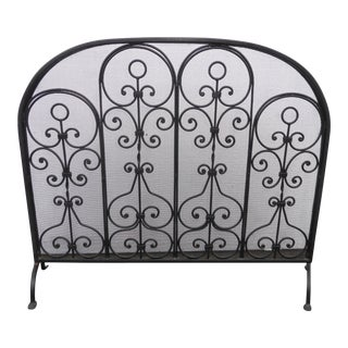 Vintage Spanish Style Black Metal Scrolled Fireplace Screen For Sale