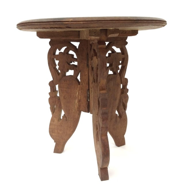 Hand-Carved Indian Sandalwood Display Table For Sale - Image 4 of 11