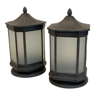 Charles Edwards Exterior Acorn Gatepost Lanterns With Frosted Glass in a Zinc Finish - a Pair For Sale