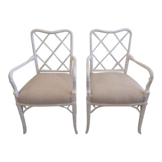 Vintage Hollywood Regency Faux Bamboo Arm Chairs - A Pair