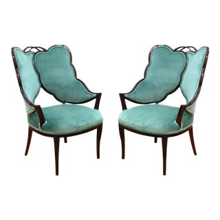 French Art Deco Leaf Design in Jade Green Velvet Mahogany Lounge Chairs - a Pair For Sale