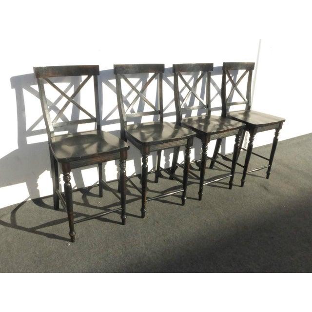 Black Modern Wood Bar Stools - Set of 4 - Image 5 of 11