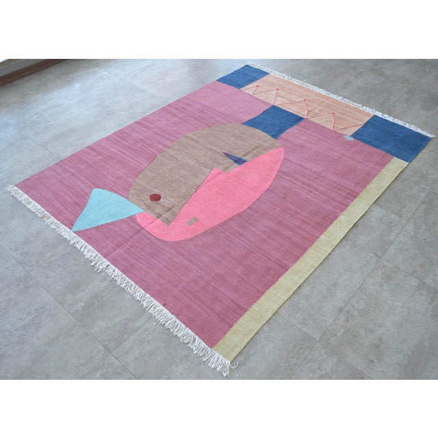 2010s Paul Klee - Clown - Inspired Silk Hand Woven Area - Wall Rug 4′4″ × 5′10″ For Sale - Image 5 of 11