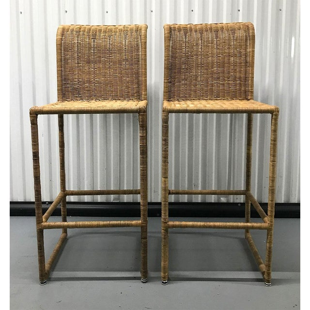 Mid-Century Modern Rattan Bar Stools - a Pair For Sale - Image 9 of 13