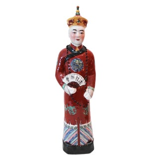 Chinese Hand Painted Red Porcelain Figure of an Official