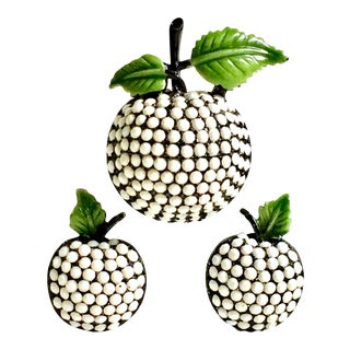 1960's Vintage Hollycraft Japanned Milk Glass Forbidden Fruit Brooch & Earrings - Set of 3 For Sale