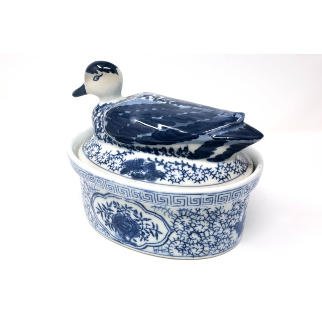 1990s Blue and White Figural Duck Tureen With Greek Key Border For Sale - Image 5 of 11