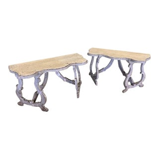 18th Century Style Italian Tuscan Demilune Consoles - a Pair For Sale