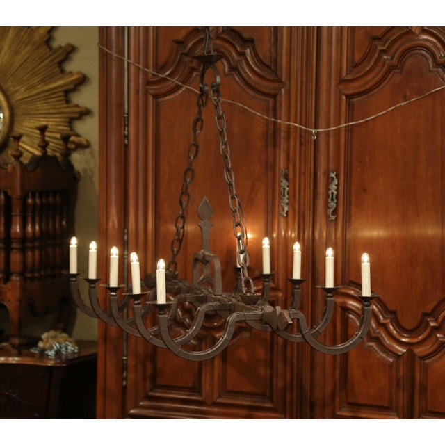 Black Early 20th Century French Forged Iron Ten-Light Chandelier For Sale - Image 8 of 11