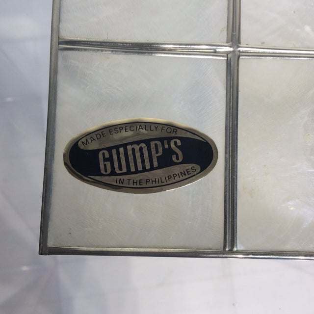 White Vintage Gump's Capiz Shell Jewelry Box For Sale - Image 8 of 10