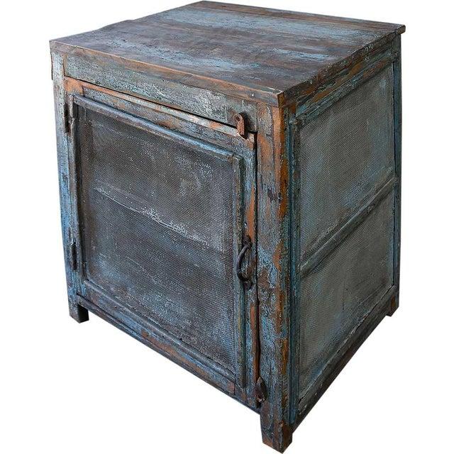 Light Blue Mesh Wood Cabinet - Image 1 of 4