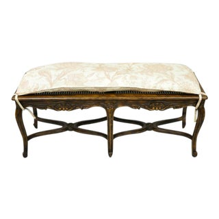 Vintage Mid Century French Provincial Louis XV Style Carved Walnut 6 Leg Bench For Sale