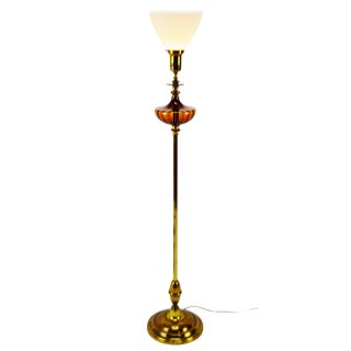 Mid Century Amber Glass Floor Lamp With Milk Glass Diffuser For Sale
