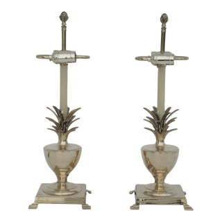 Brass Petite Pineapple Urn Lamps - a Pair For Sale
