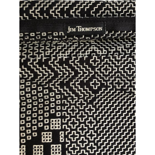 """Pair of 20"""" Square Black and White Stitched Patchwork Pillows by Jim Thompson For Sale - Image 10 of 11"""