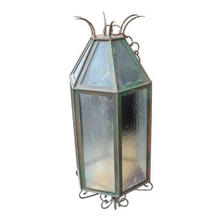 1930s Large Italian Wrought Iron Lantern For Sale