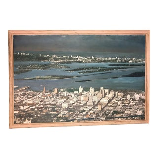 1950's Vintage Aerial Photo of Miami Beach & Biscayne Bay For Sale