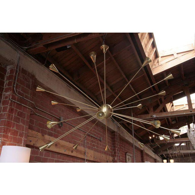 Brass Sputnik chandelier with twenty arms, arms enough to light up the room!