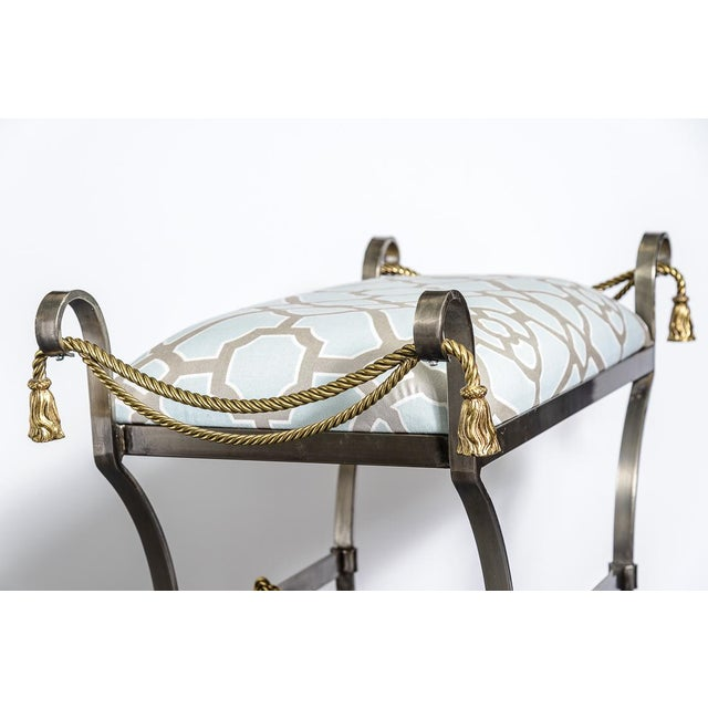 Neoclassical Style Rope & Tassel Steel Ottoman For Sale In West Palm - Image 6 of 11