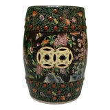 Image of Hand Painted Floral Chinoiserie Garden Stool For Sale