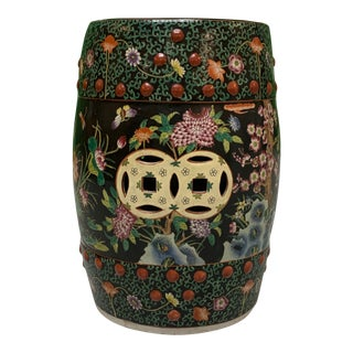 Hand Painted Floral Chinoiserie Garden Stool For Sale