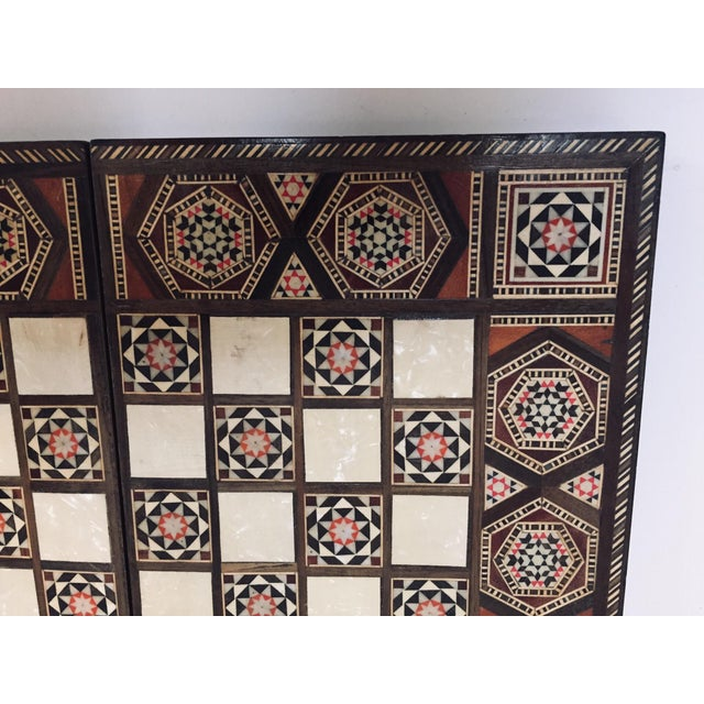 Islamic Vintage Mid-Century Syrian Inlaid Mosaic Backgammon and Chess Game For Sale - Image 3 of 12