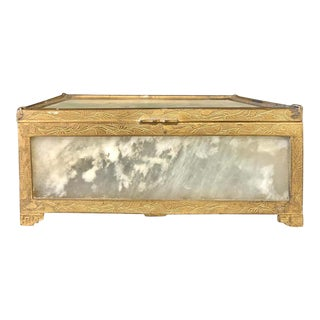 Chinese Jade and Gilt Metal Vanity Box, Casket Box For Sale