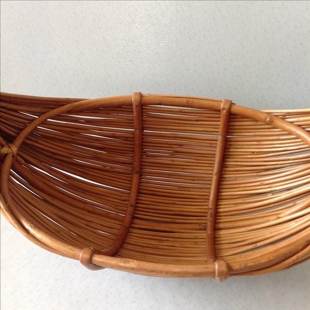 Vintage Handmade Wicker Rattan Basket For Sale - Image 5 of 9