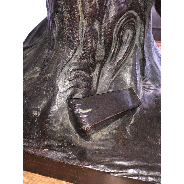 Bronze After Edme Dumont 19th Cent Large Bronze Depicting Male Figure of Milo De Croton For Sale - Image 8 of 13