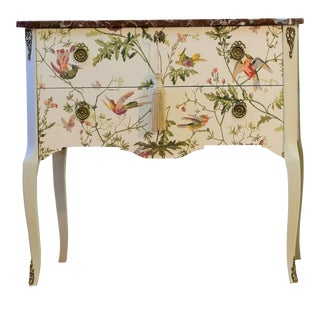 Louis XV Bedside Table With Floral Pattern For Sale