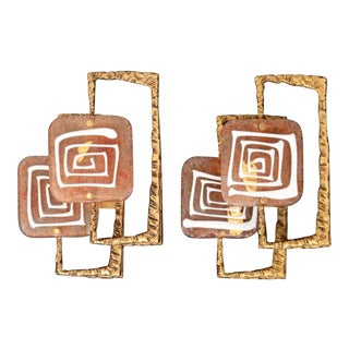 Angelo Brotto for Esperia Bronze Sconces/Appliques - a Pair For Sale