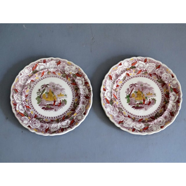 Antique Ridgways 'Oriental' Mulberry Purple Plates, a Pair For Sale In Houston - Image 6 of 6
